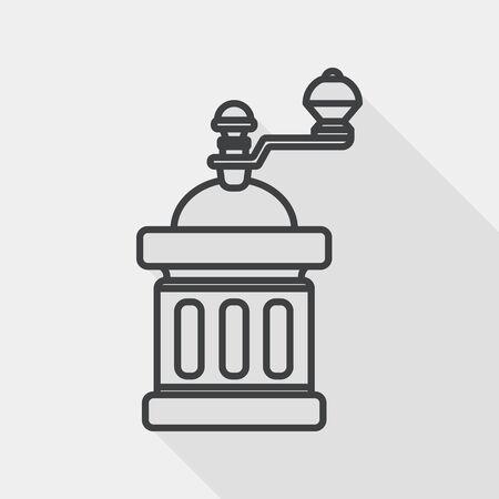 coffee machine: grinding coffee machine flat icon with long shadow, line icon