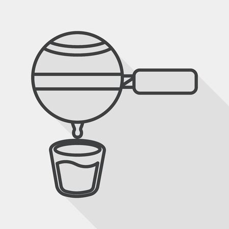 grinding: grinding coffee machine flat icon with long shadow, line icon