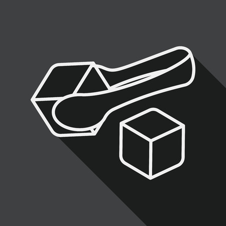 cubed: Sugar cubes flat icon with long shadow, line icon