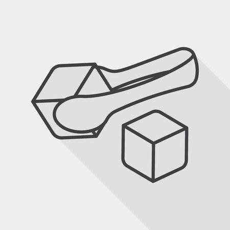 azucar: Cubos del az�car icono plana con larga sombra, icono l�nea