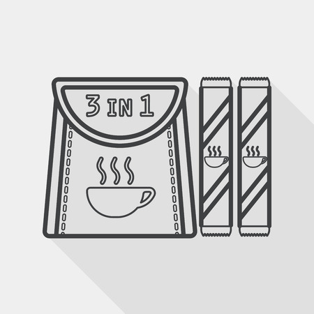 3 in 1 coffee flat icon with long shadow, line icon Vector