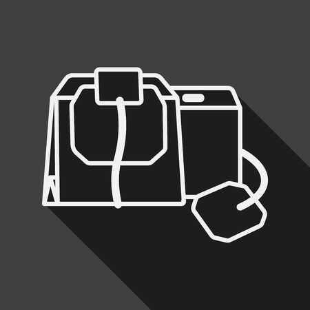 bagged: coffee bag flat icon with long shadow, line icon