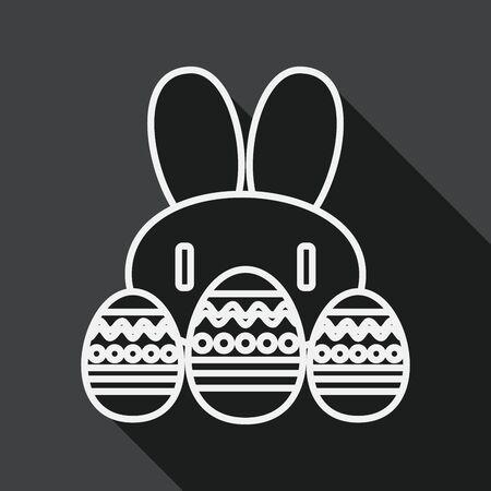 osterhase: Osterhase Flach Symbol mit langen Schatten, line icon Illustration