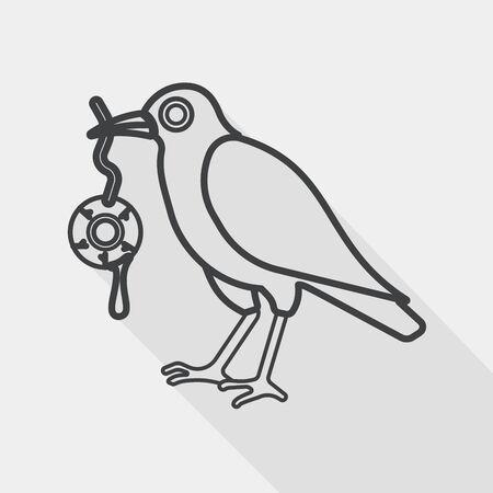 cuervo: Cuervo de Halloween y el icono del globo ocular plana con una larga sombra, icono l�nea Vectores