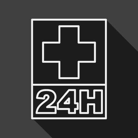 Hospitals 24 hours flat icon with long shadow, line icon Vector