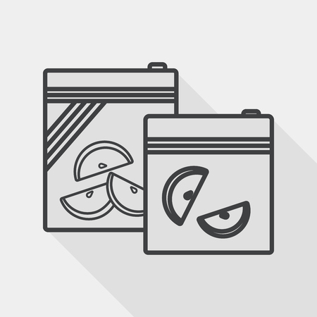 food preservation: kitchenware zipper bags flat icon with long shadow, line icon Illustration