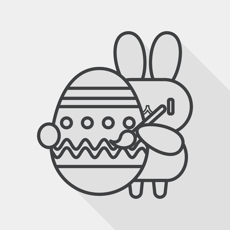 cartoon easter basket: easter bunny flat icon with long shadow, line icon Illustration