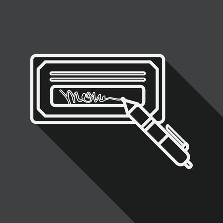 chequera: cheque factura icono plana con larga sombra, icono l�nea