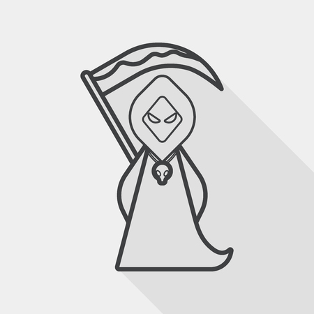 harbinger: Grim Reaper flat icon with long shadow, line icon