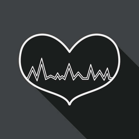 blood pressure monitor: ECG heart flat icon with long shadow, line icon Illustration