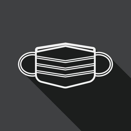medical mask flat icon with long shadow, line icon Ilustracja