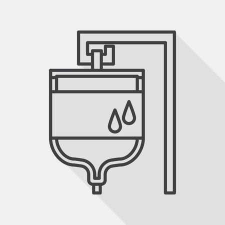 iv: IV bag flat icon with long shadow, line icon Illustration