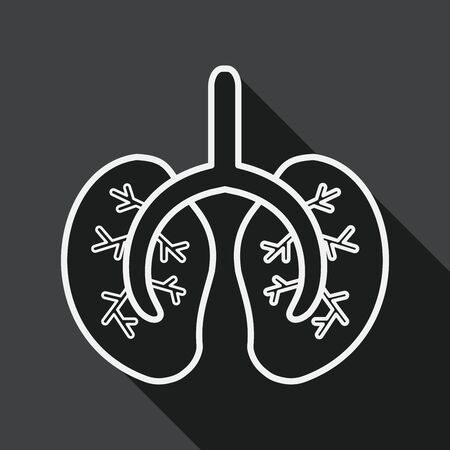 Lungs flat icon with long shadow, line icon Illustration
