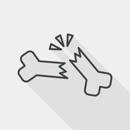 bone fracture flat icon with long shadow, line icon