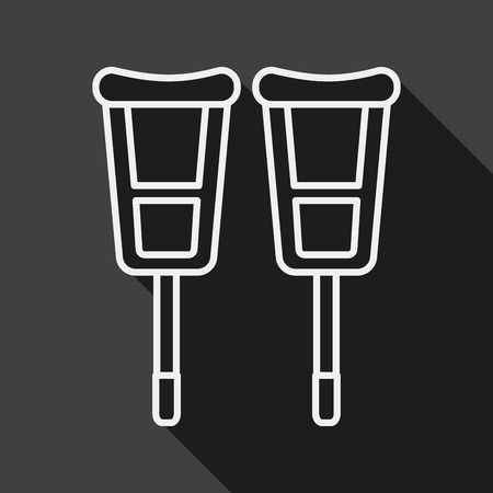 crutch: Crutch flat icon with long shadow, line icon Illustration