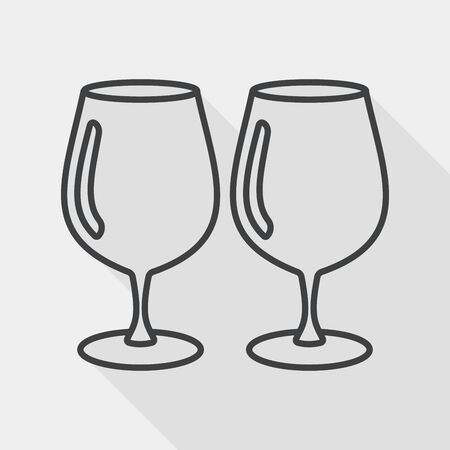 glass cup: kitchenware glass cup flat icon with long shadow, line icon Illustration