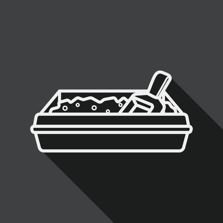 filler: Pet cat litter box flat icon with long shadow