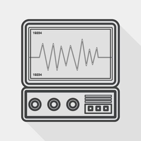 ecg monitoring: monitor in the ICU flat icon with long shadow, line icon Illustration