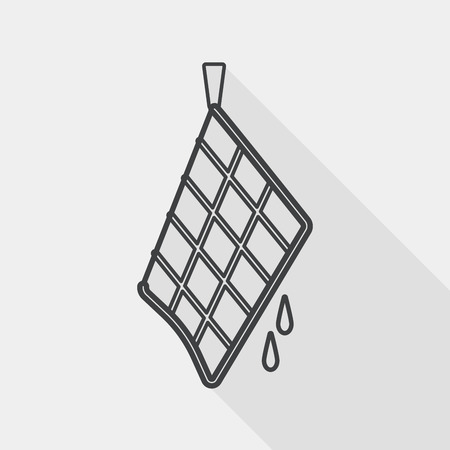 rag: kitchenware rag flat icon with long shadow, line icon Illustration