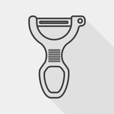 peeler: kitchenware peeler flat icon with long shadow, line icon Illustration