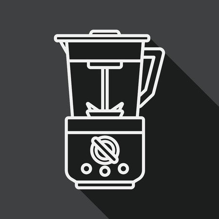 kitchenware electric juicer flat icon with long shadow, line icon Vector