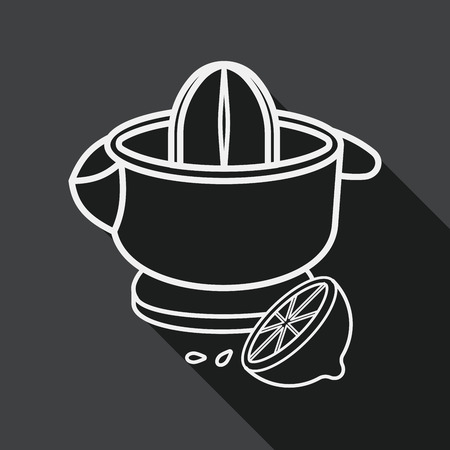 liquidizer: kitchenware juicer flat icon with long shadow, line icon Illustration