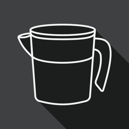 liter: kitchenware measuring cup flat icon with long shadow, line icon Illustration