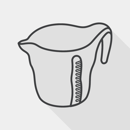 measuring cup: kitchenware measuring cup flat icon with long shadow, line icon Illustration