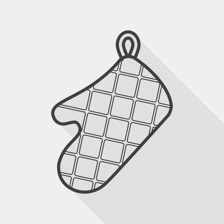 mitts: kitchenware oven mitts flat icon with long shadow, line icon