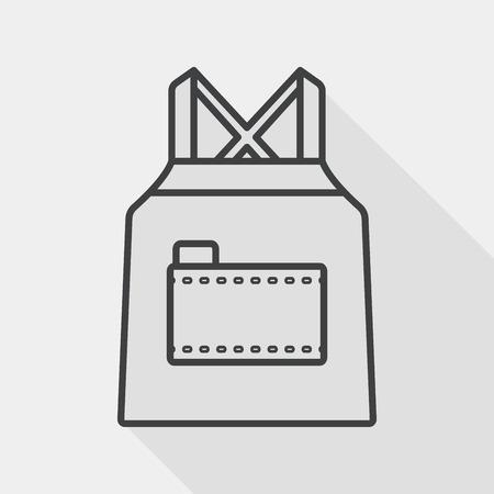 ustensiles de cuisine: ustensiles de cuisine tablier ic�ne plat avec ombre, ic�ne de la ligne