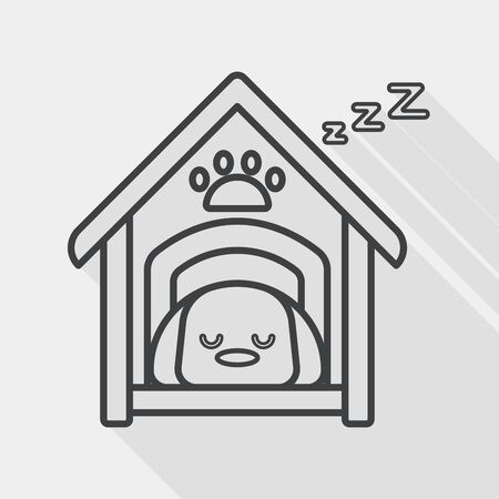 dog house: Pet dog house flat icon with long shadow, line icon
