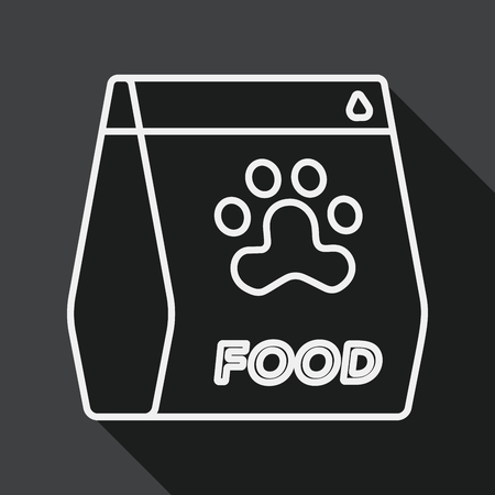 animal feed: Pet dog food flat icon with long shadow, line icon