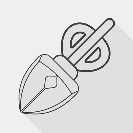 poo: Pet dog pick up poo equipment flat icon with long shadow, line icon Illustration