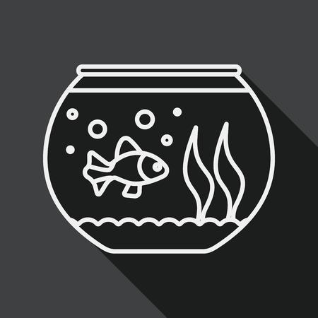 pet fish: Pet pesce icona piatto con una lunga ombra, icona linea