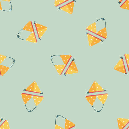 bikini top: Swimming suit flat icon seamless pattern background Illustration