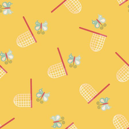 entomologist: butterfly net flat icon seamless pattern background