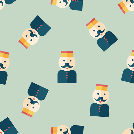 bellhop: Hotel bellhop flat icon seamless pattern background