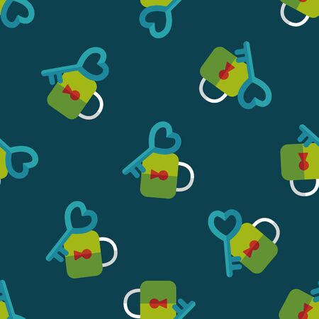 Valentines Day lover lock flat icon seamless pattern background Vector
