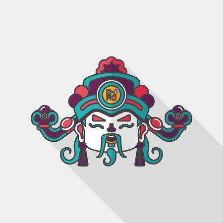 prosperidad: icono plana Año Nuevo Chino con una larga sombra, Dios de la riqueza
