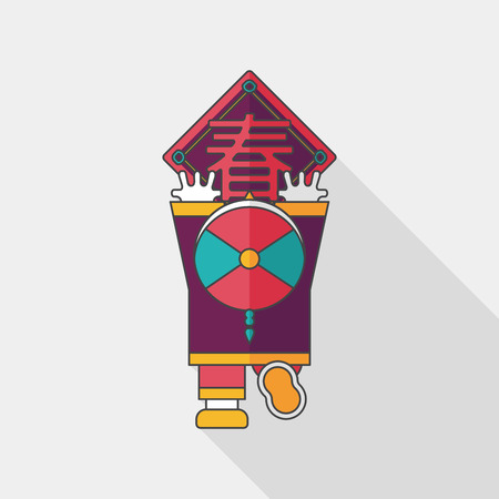 couplets: Chinese New Year flat icon with long shadow, the little boy to stick couplets, Chinese festival couplets means  wish Spring comes.
