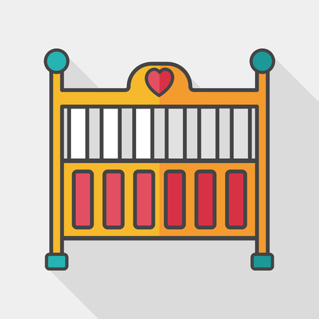 baby cradle bed flat icon with long shadow 向量圖像