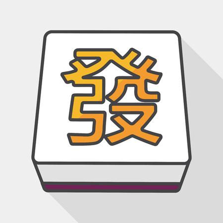 fa: Chinese mahjong flat icon with long shadow