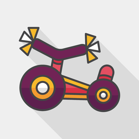 enfant banc: Kids Tricycle flat icon with long shadow  Illustration