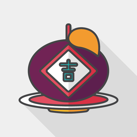 propitious: Chinese New Year flat icon with long shadow. Chinese lucky orange means Wish you whole year will be lucky and propitious. Illustration