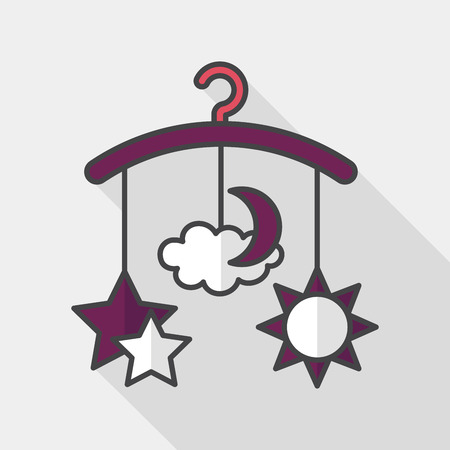 hanging toy: Baby crib hanging toy flat icon with long shadow