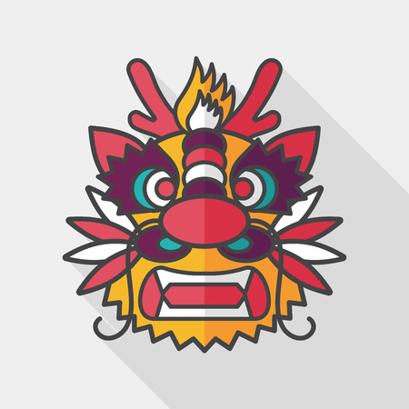 new icon: Chinese New Year flat icon with long shadow, The dragon and lion dancing head