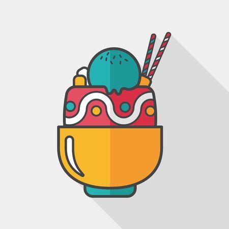 coppa di gelato: Icona piatta sundae con una lunga ombra