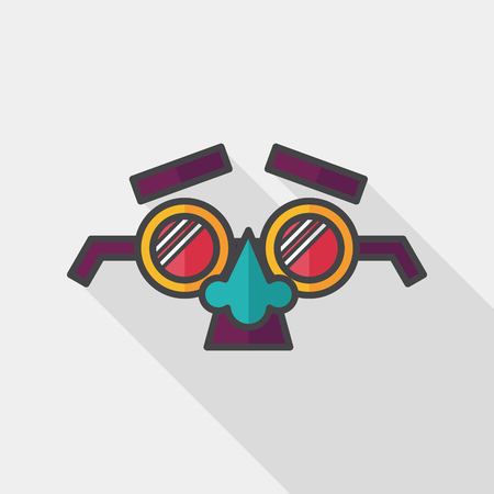 fake mask: party Mask flat icon with long shadow