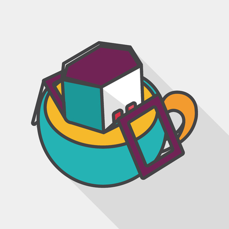 koffiebaal: coffee bag flat icon with long shadow