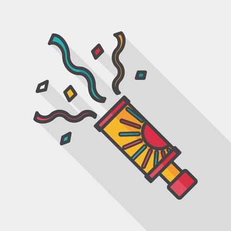 parade confetti: confetti flat icon with long shadow